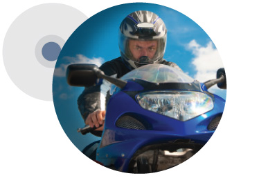 Motorcyclist using Auritech earplugs